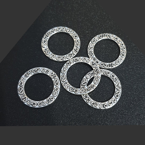 100 Pieces Zinc Alloy Material Approx Size 28mm Silver Plated Circular Links Jewellery Making Findings