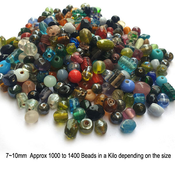 1 Kilogram 7~10mm India Mix glass beads economy