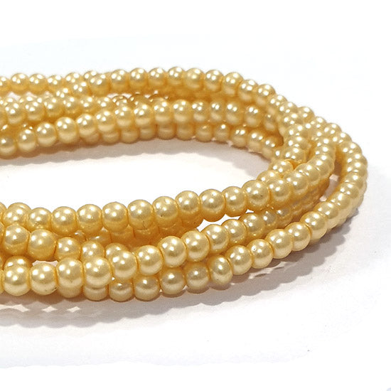 "10 Strands Each 16"" Line  Yellowish Cream Glass Pearl Round  Findings Charms for jewelry making"