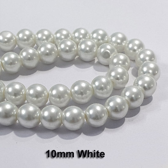 "10 Strands Each 16"" Line  White Glass Pearl Round  Findings Charms for jewelry making"