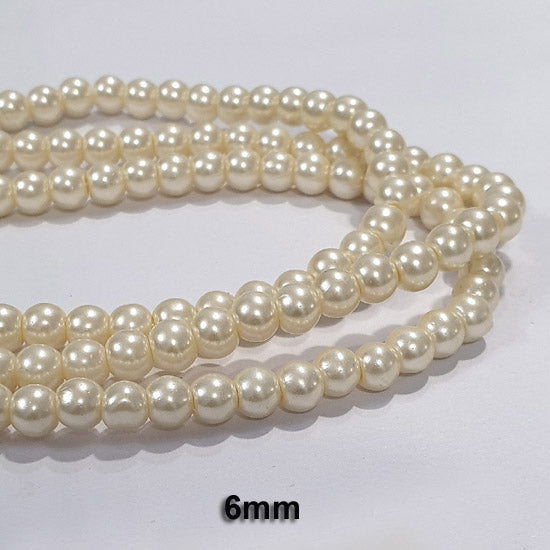"10 Strands Each 16"" Line  Cream Glass Pearl Beads Round  Findings Charms for jewelry making"