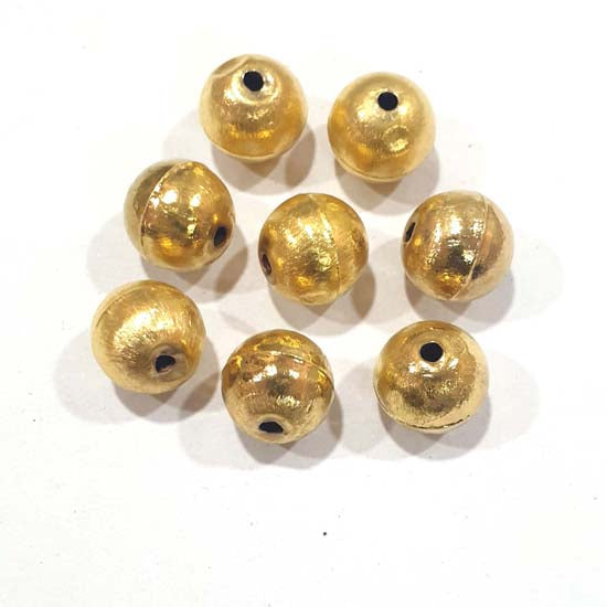 100 Pcs Pack Hollow Metal Beads 14mm Very Light weight Gold Plated for jewelry Making