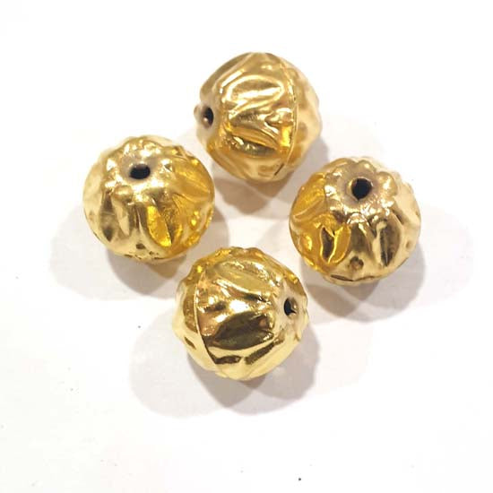 100 Pcs Pack Hollow Metal Beads 21x19mm Very Light weight Gold Plated for jewelry Making