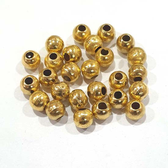 100 Pcs Pack Hollow Metal Beads 8mm Very Light weight Gold Plated for jewelry Making