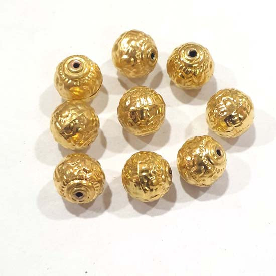 100 Pcs Pack Hollow Metal Beads 12mm Very Light weight Gold Plated for jewelry Making
