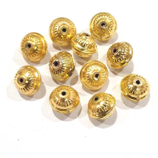 100 Pcs Pack Hollow Metal Beads 14x12mm Very Light weight Gold Plated for jewelry Making