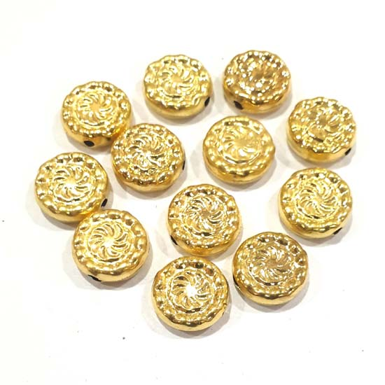 100 Pcs Pack Hollow Metal Beads 15x15mm Very Light weight Gold Plated for jewelry Making