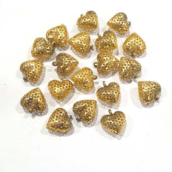 100 Pcs Pack Hollow Metal Beads 13x14mm Very Light weight Gold Plated for jewelry Making