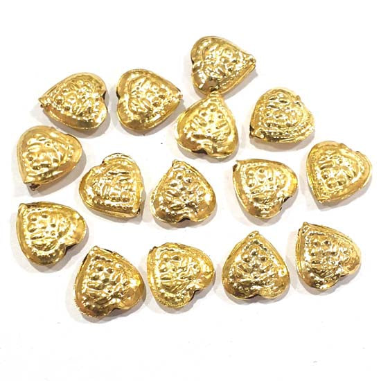 100 Pcs Pack Hollow Metal Beads 14x13mm Very Light weight Gold Plated for jewelry Making