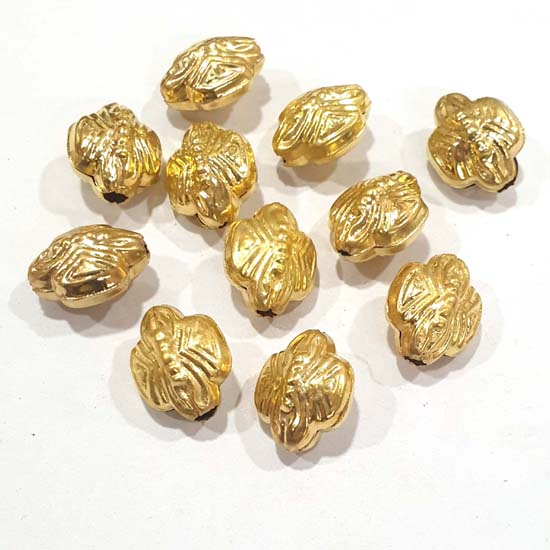 100 Pcs Pack Hollow Metal Beads 20x16mm Very Light weight Gold Plated for jewelry Making