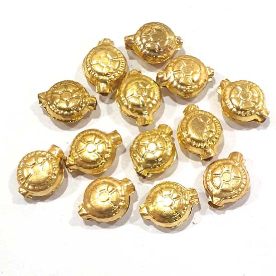 100 Pcs Pack Hollow Metal Beads 12x16mm Very Light weight Gold Plated for jewelry Making