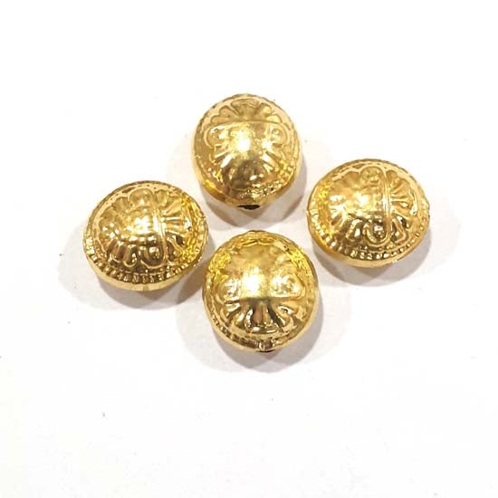 100 Pcs Pack Hollow Metal Beads 16x17mm Very Light weight Gold Plated for jewelry Making