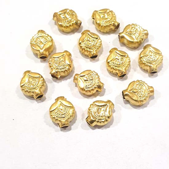 100 Pcs Pack Hollow Metal Beads 11x13mm Very Light weight Gold Plated for jewelry Making