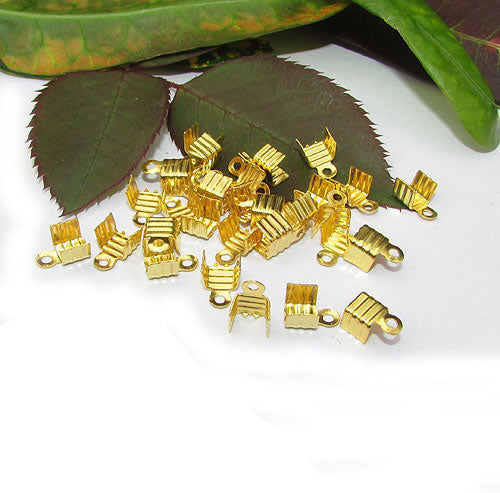 1000 Pcs Gold Plated Ribbed For 2mm Cord  Tips Cord end jewelry findings
