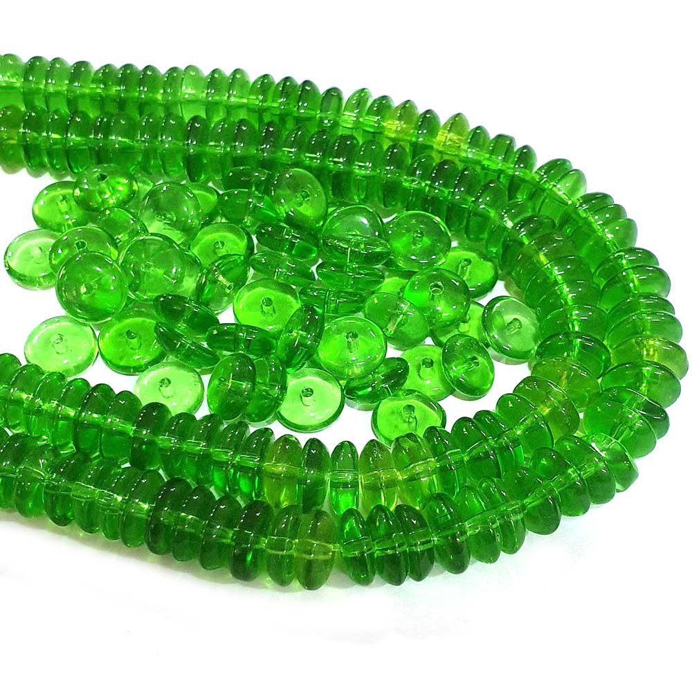 JPM Beads 500 Pieces Green Disc Glass Bead Charms for Jewelry making DIY 8x3mm