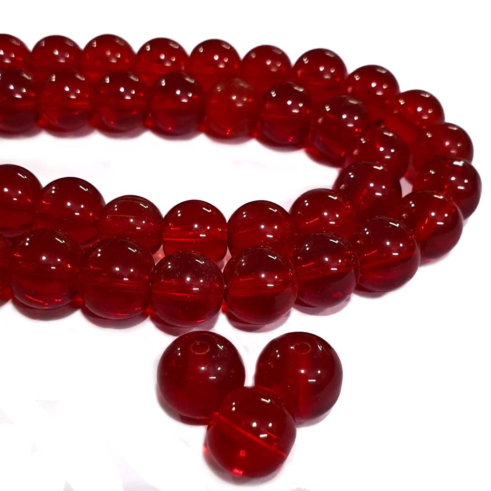 JPM Beads 250 Pieces Artificial Jewellery Making Materials Red Crystal Glass Beads Round 10mm Size