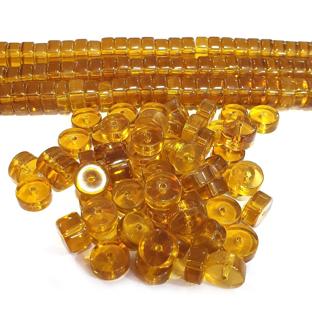 JPM Beads 500 Pieces Artificial Jewellery Making Materials Brown Topaz Glass Beads Heishi Shape 10x6mm Size