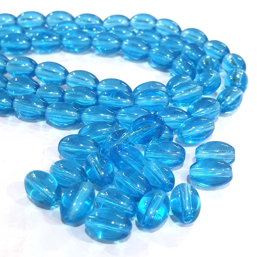JPM Beads 500 Pieces Light Blue Glass Bead for DIY Necklace Bracelet Earring Jewellery Making Size 10x6mm