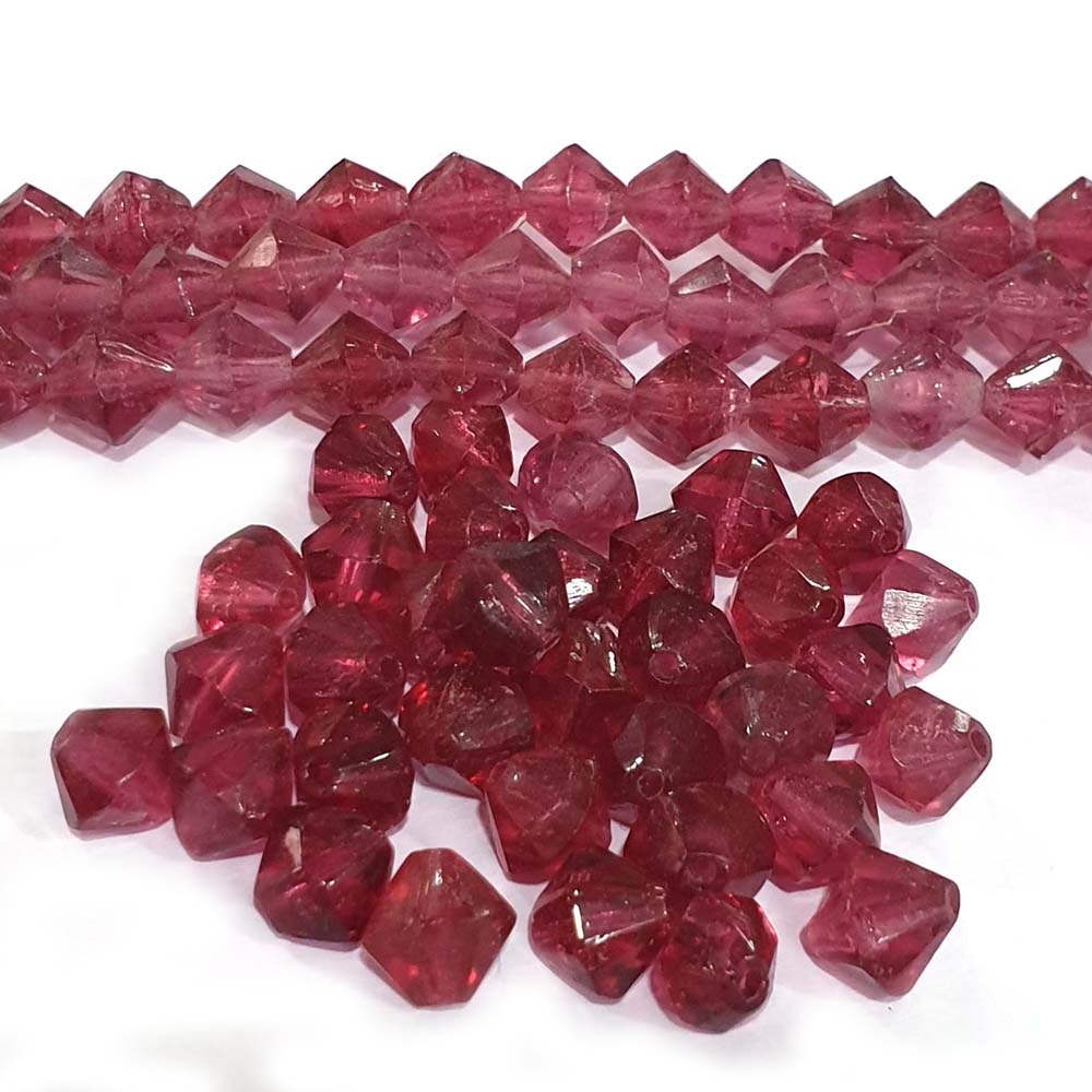 JPM Beads 500 Pieces Unique beads for jewelry making Fuchsia Pink Bi Cone Shape Glass Beads Approx 9mm Size