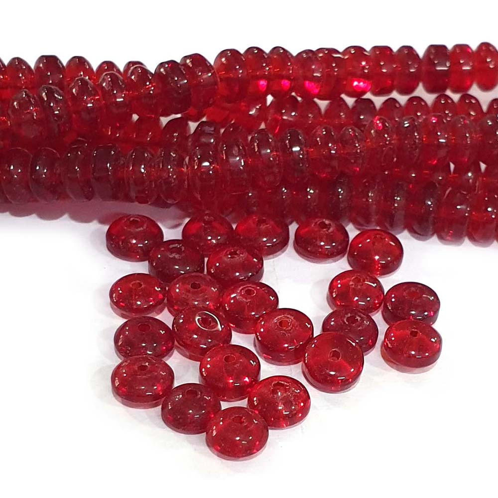 JPM Beads 1000 Pieces Glass Beads for jewellery making Color Red Shape Disc Size: 4x8mm