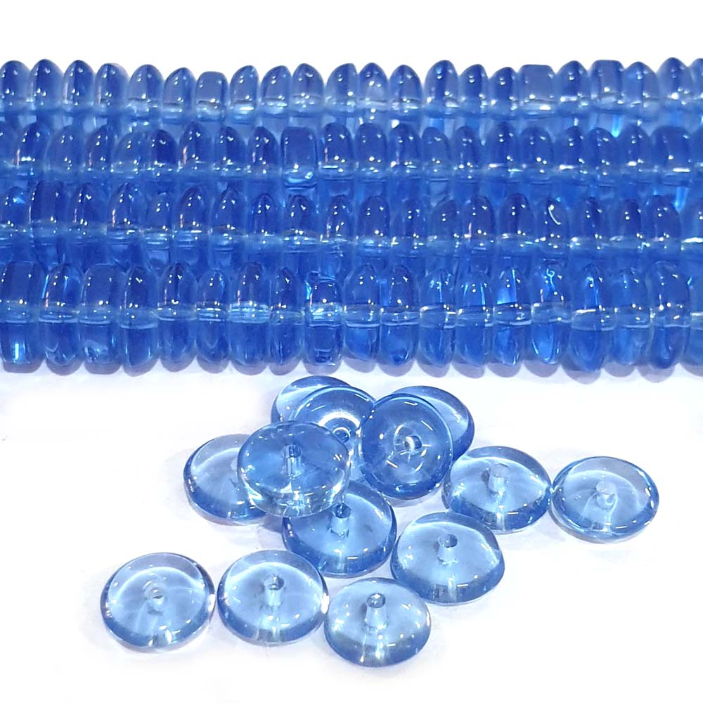 JPM Beads 1000 Pieces Glass Beads for jewellery making Color Light Blue Shape Disc Size: 3x8mm