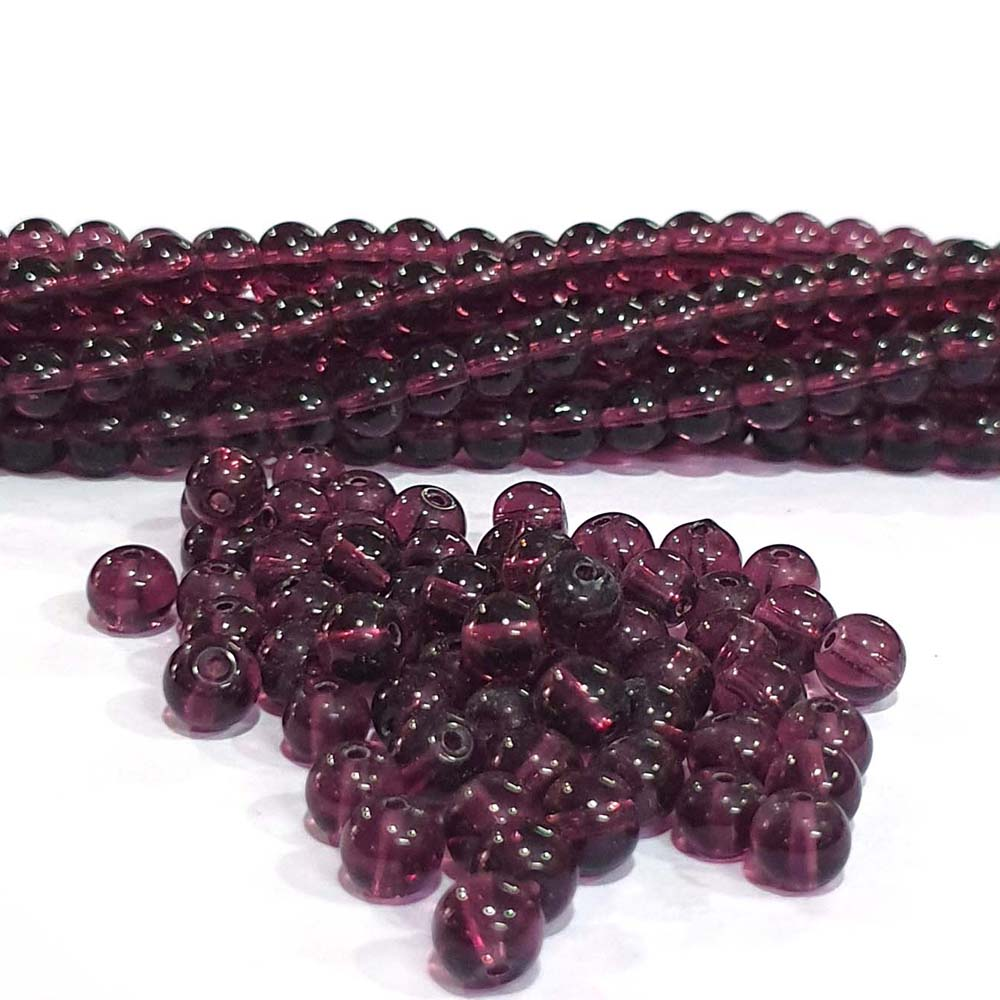 JPM Beads 1000 Pieces Glass Beads for jewellery making Color Purple Shape Round Size: 6mm