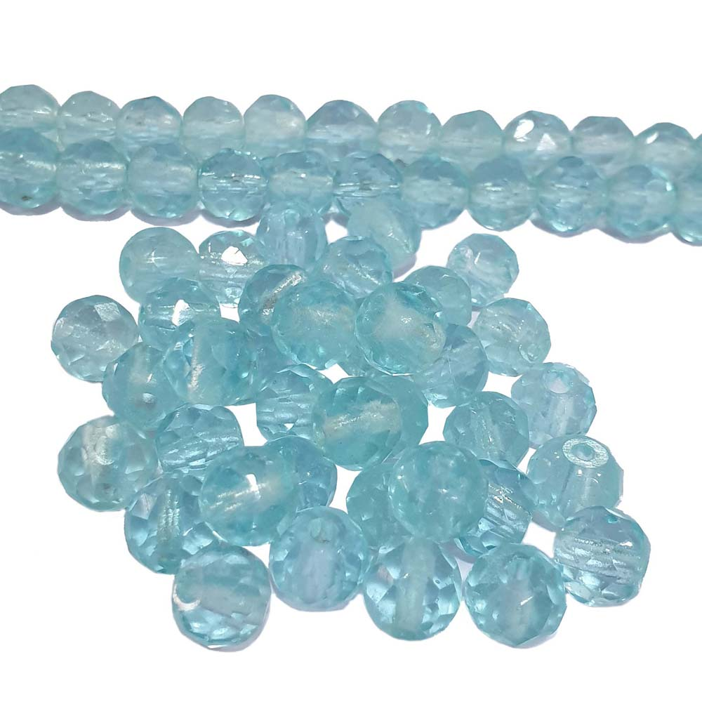 JPM Beads 500 Pieces Aqua Color Round Faceted Handmade Jewellery Making Beads Size 10mm