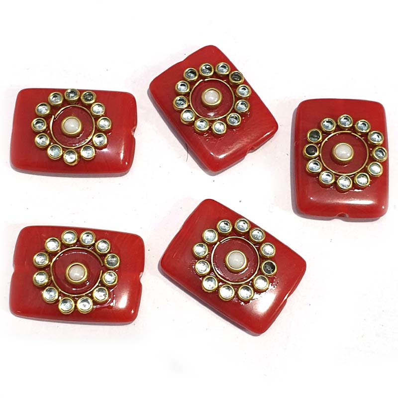 12 Pieces Square Kundan Beads for Jewellery Making