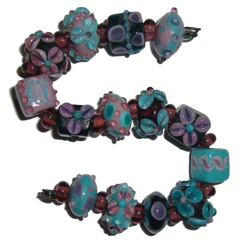 10 Sets Teal Aqua Shape Beautiful lampwork beads bright and bold for making earring