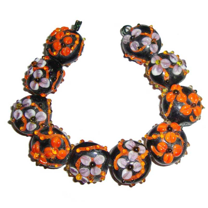 10 Sets as picturer JPM Beads Excluive Shade of Yellow Orange Colorful feathers Lampwork Handmade designer Bead set