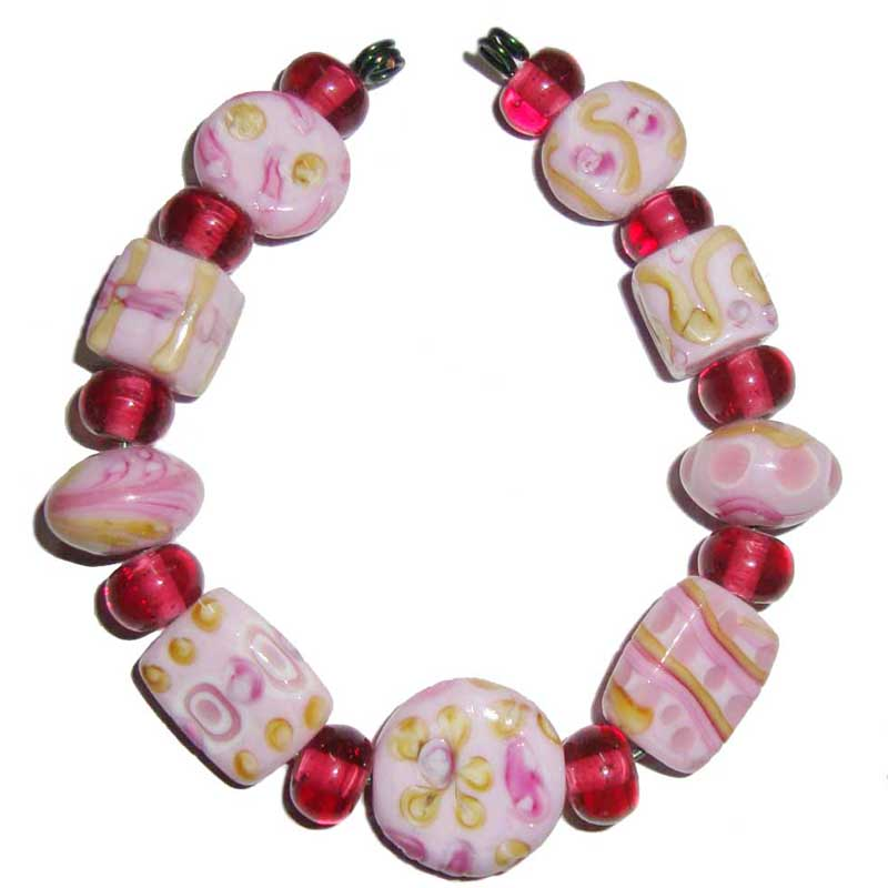10 Set as Pic, Shade of  Rich Pink Swirly nice feathers decoration  Lampwork Glass Lentil Bead