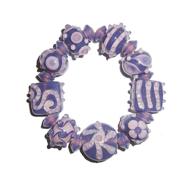10 Sets Purple Mouve creative decoration Lampwork designer Set skilled craf man ship jewelry making