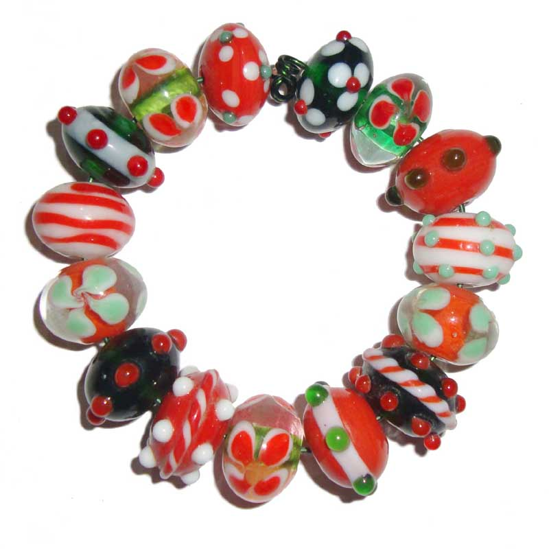 10 Sets Hot Red Color Feathers Designs lampwork Bead Set