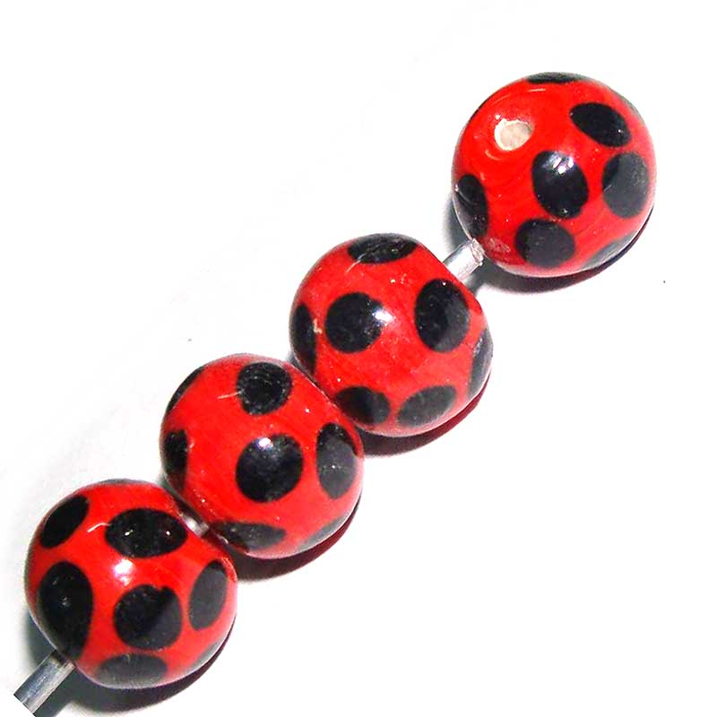 Polka Black Dot Lampwork Handmade Glass Beads Various Color Options