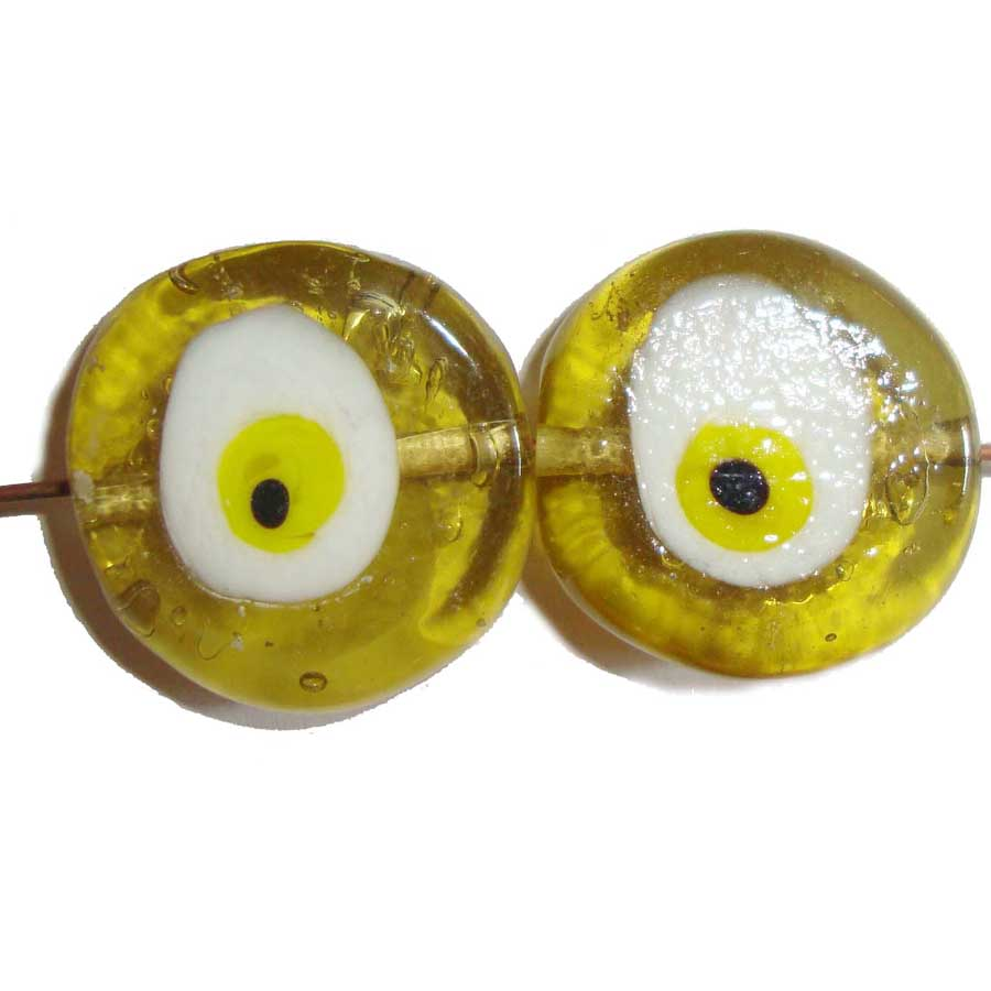 Evil Eye glass lampwork Bead  Greek handmade beads Boho Blue lampwork  Lucky Charm Protection Talisman baby favors