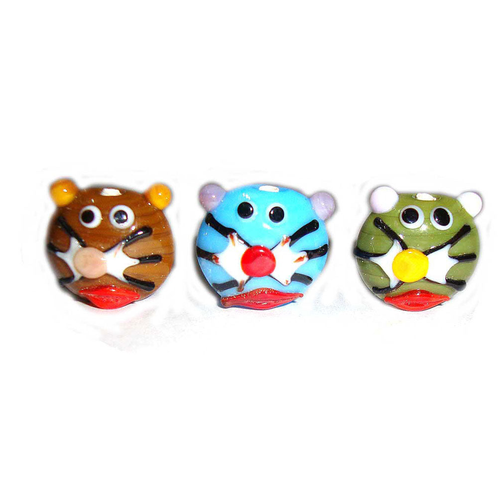 Cat,18mm Approx Size, Handmade lampwork Glass Beads Sold Per 100 Pcs Pack