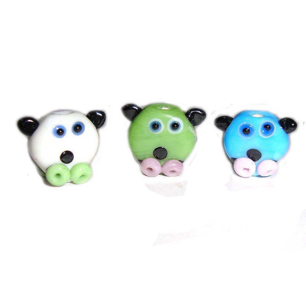 Pig,18mm Approx Size, Handmade lampwork Glass Beads Sold Per 100 Pcs Pack