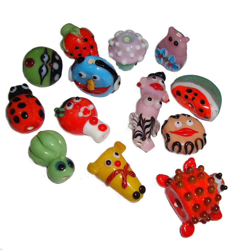 300 Pcs pack, Mix Fun,14~30mm Approx Size, Handmade lampwork Glass Beads