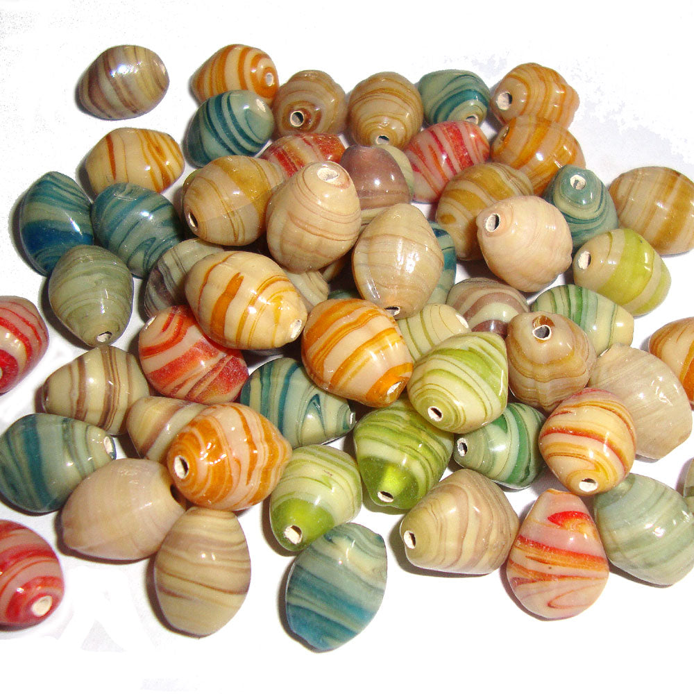 Barroque Oval Beige and other colors Mix Handmade Glass Beads by Kilogram Pack