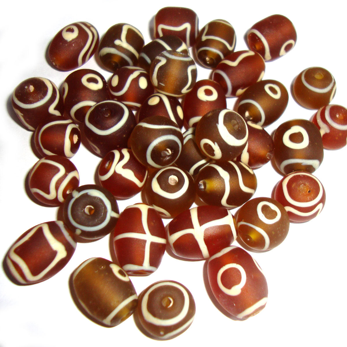 Various Shape Like Oval Round Tube Matt Brown Frosted Mix assortment Handmade Vintage glass beads