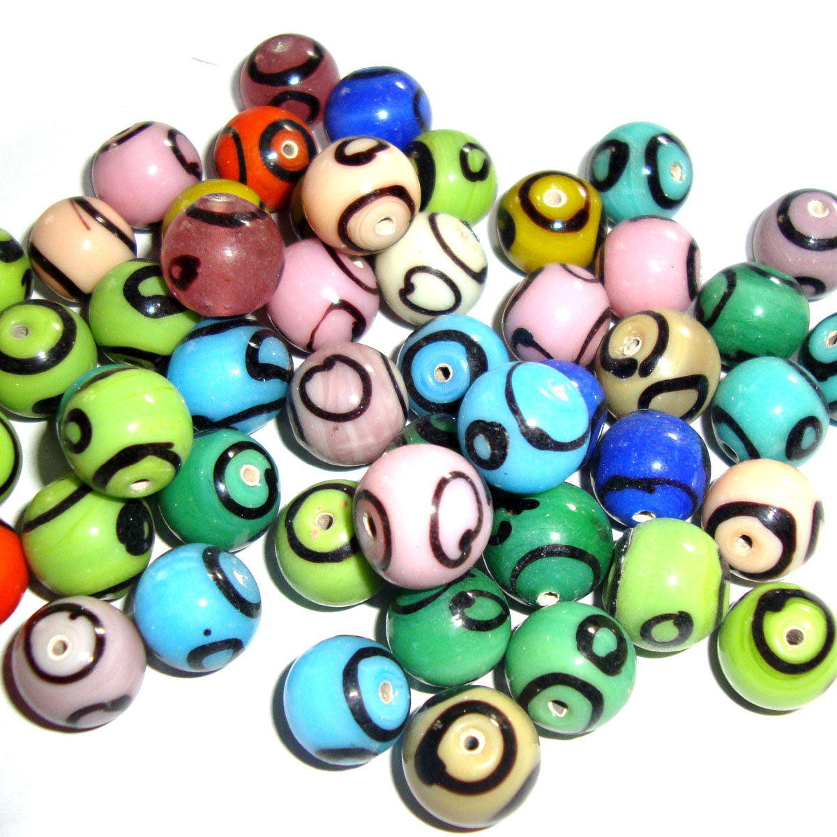 Vintage Round colorful nepali Tibetan Mix color Glass beads for Jewelry making