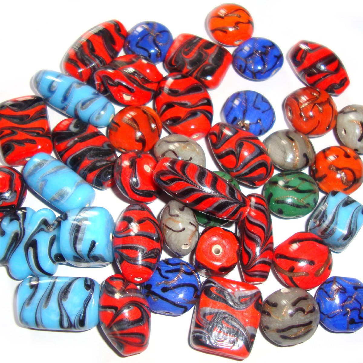 Multi Shapes Mix colors Wave Stripes feathers Lampwork Mix Glass Beads for Jewelry making