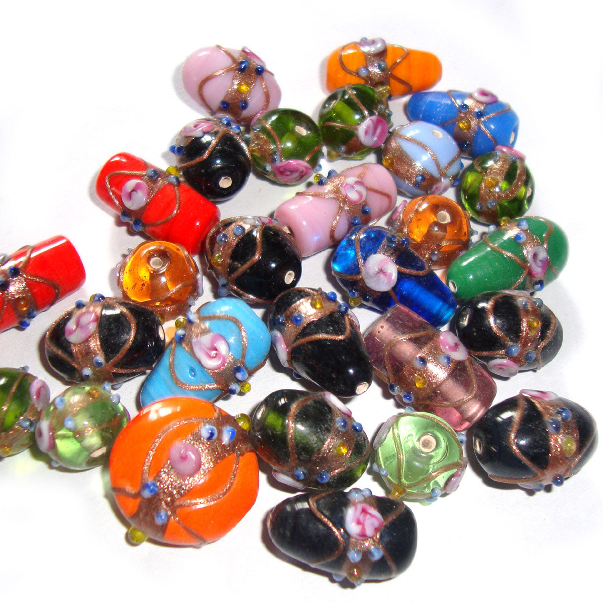 Wedding Cake lampwork Mix Beads Multi Shape and Various solid colors Glass beads