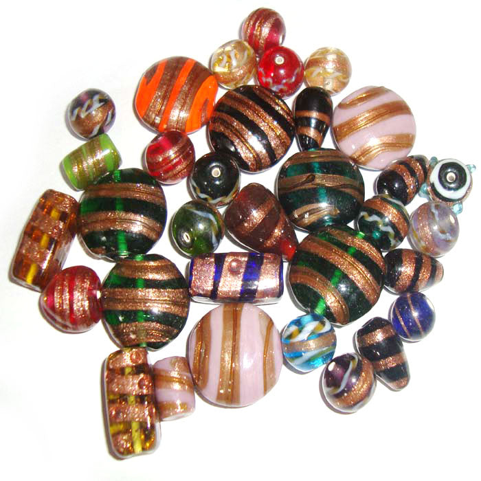 Gold Strips and Gold Band Aventurine Copper Mix Shapes and Size Lampwork Glass Beads