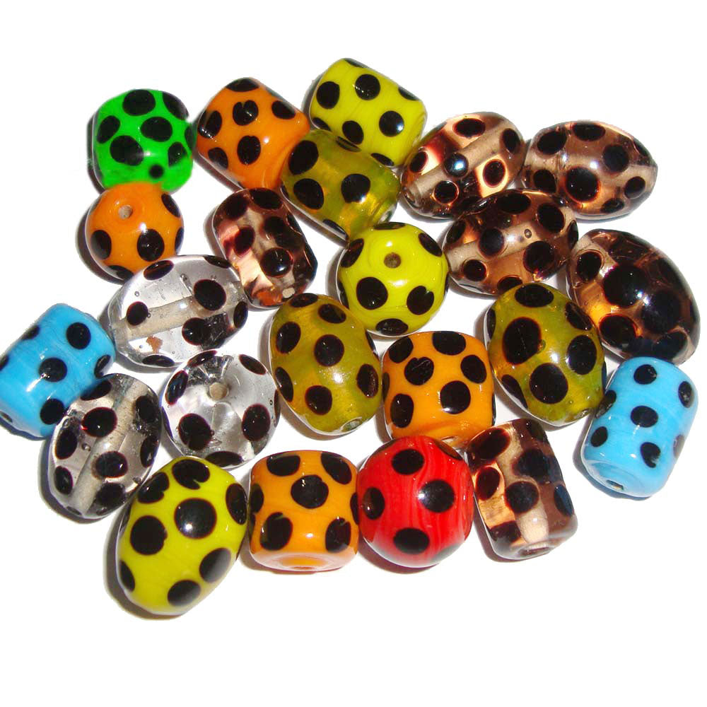 Black Polka dot Mix colors and shapes Lampwork handmade glass beads jewelry supplies