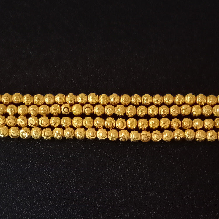 10 Strands Micron Plated long lasting Engraved Gold Beads