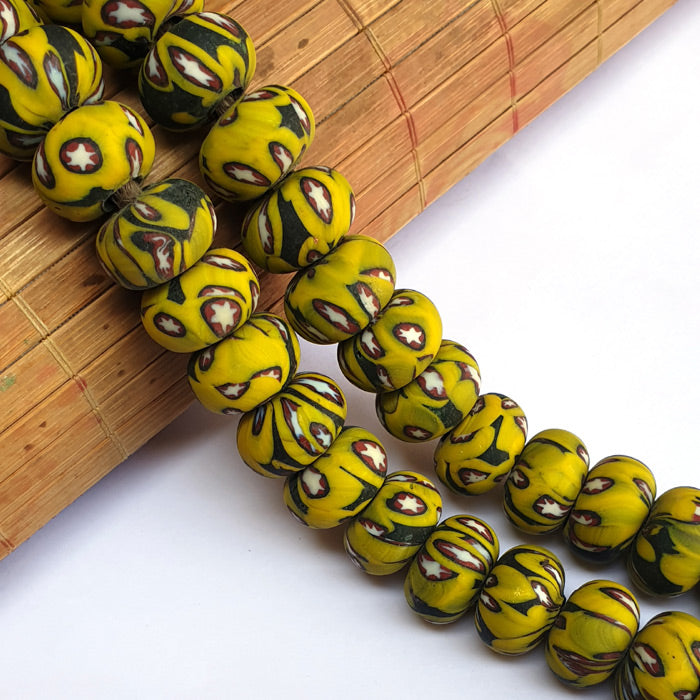 1 KG Pack, Millefiori Trade Beads Size 12x20mm Rondelle Yellow Color Approx 34 Beads in a Strand of 16""