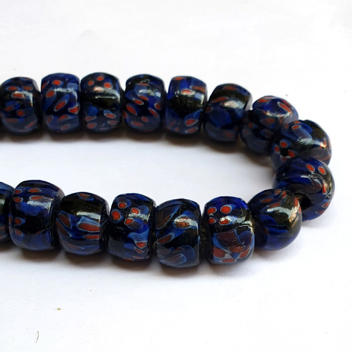 1 KG Pack, Millefiori Trade Beads Size 12x18mm Heishi Blue Color Approx 33 Beads in a Strand of 16""