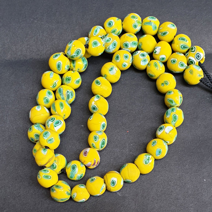 1 KG Pack, Millefiori Trade Beads Size 15mm Round Yellow Approx Pcs in a Kilo 276 Beads