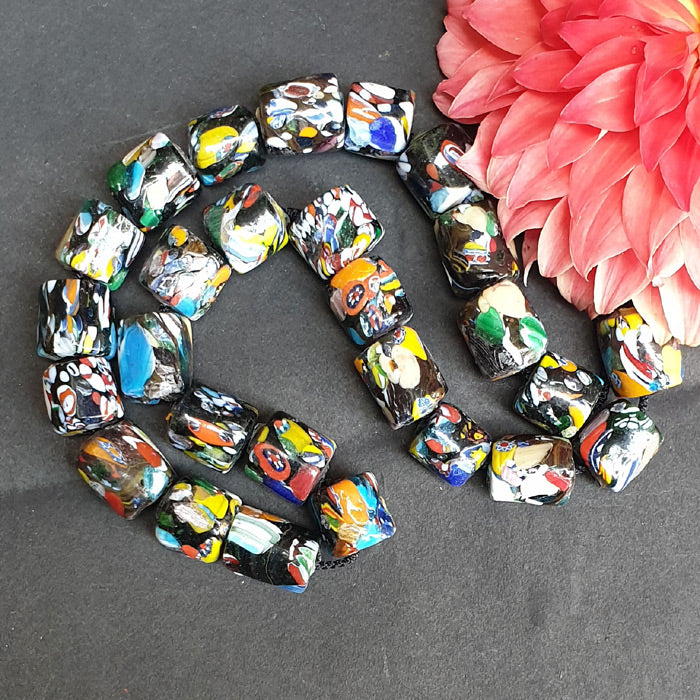1 KG Pack, Millefiori Trade Beads Size 17x20mm Barrel Black Approx Pcs in a Kilo 100 Beads